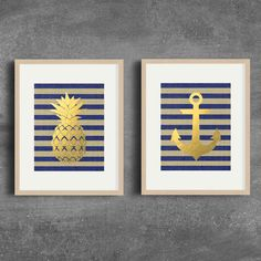 Pineapple Print Anchor Art Digital Download by PrettyPennyPrints