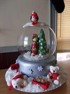snowglobe cake Christmas Cakes, Holiday Cakes, Christmas Desserts, Christmas Baking, Christmas Diy, Christmas Globes, Snow Globes, Globe Cake, Grinch Cake