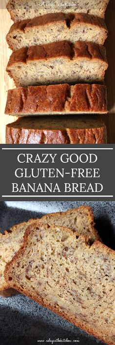 Tender, moist, and mildly sweet, this Crazy Good Gluten-Free Banana Bread gives no hints of being gluten-free! It looks and tastes just like 'real' banana bread! Gluten Free Banana Bread, Gluten Free Muffins, Gluten Free Sweets, Gluten Free Cakes, Gluten Free Baking, Gluten Free Recipes, Gf Recipes, Banana Recipes, Vegetarian Recipes
