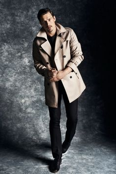 Sam Webb posing in the latest Fall Winter 2013 looks coming from Reserved...men's trench coat