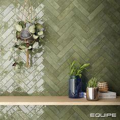 Green Tile Backsplash, Kitchen Wall Tiles, Kitchen Backsplash Interior, Green Bathroom Tiles, Green Bathrooms, Green Tiles, Bathroom Interior Design, Bathroom Inspiration, Sage Green Kitchen