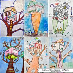 2 point perspective fantasy treehouses - grade This would be fun! (also, harry potter camp) 7th Grade Art, Fourth Grade, Middle School Art Projects, Jr Art, Perspective Art, Ecole Art, Art Curriculum, Art Lessons Elementary, Art Lesson Plans