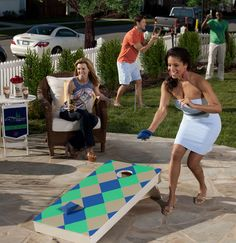 we could have a games area on artificial green carpet. bean bag toss, lawn jenga, etc.