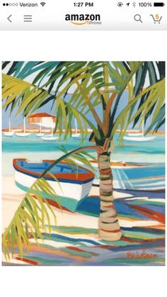tropical boat Palm amazon acrylic painting