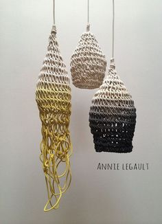 Amulette-the amazing work of Annie Legault Lampe Crochet, Diy Lampe, Deco Luminaire, Wood Painting Art, Bohemian Style Bedrooms, Gothic Accessories, Handmade Home, Textile Art, Fiber Art