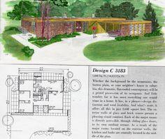 Vintage House Plans, Modern House Plans, House Floor Plans, Vintage Houses, Mcm House, Googie, Mid Century House, House Painting, Midcentury Modern