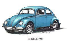 Blue 1957 Volkswagen Beetle $3
