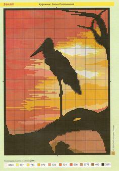 Sunset and crane x-stitch