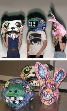 High School Art, Middle School Art, Animal Masks, Animal Heads, School Art Projects, Projects For Kids, Mascara Papel Mache, Cardboard Mask, Cardboard Sculpture