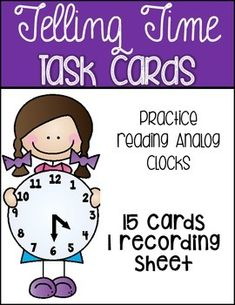 This pack includes 15 task cards that help your kiddos practice telling time on an analog clock.  There is a recording sheet included as well.The kiddos just have to flip through each task card, read the time on the clock and record it on the recording sheet in the corresponding boc