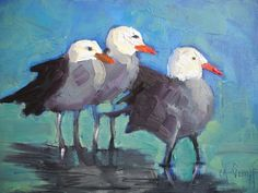 "Contemporary Artists of North Carolina: Daily Painting, Seagull Painting, ""The Three Stooges"" by Carol Schiff, 6x8 Oil, SOLD"