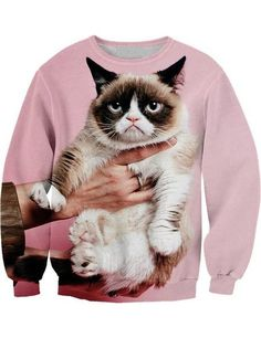Ninimour Womens'Crew Neck Pullover Cat Galaxy Printed Sweatshirt: Amazon.de: Bekleidung