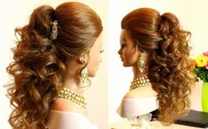 Wedding Hairstyles Long Curly Hair Glitter - curly bridal hairstyle for long hair tutorial Curls For Long Hair, Curly Wedding Hair, Braids With Curls, Long Hair Wedding Styles, Long Curly Hair, Thick Hair, Curls Hair, Frizzy Hair, Curled Hairstyles