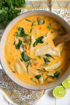 Thai Coconut Potsticker Soup includes your favorite Thai Coconut Curry flavors, tasty potstickers and the freshest ingredients!