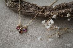 Pink Tourmaline Delicate Necklace by ATELIER Gaby Marcos