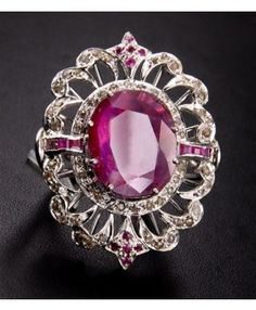 10Ct Ruby Silver Gemstone Cocktail Ring with Rose Cut Diamonds