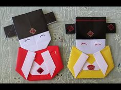 Easy origami craft: How to make a Japanese doll bookmark - YouTube