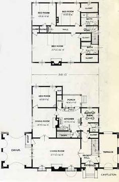 1926 Standard House Plans: The Castleton Craftsman Style Bungalow, Bungalow Floor Plans, House Floor Plans, Vintage House Plans, Vintage Houses, Companies House, Antique House, Architectural Prints, Two Story Homes