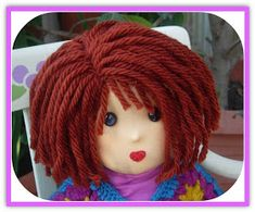 19 Trendy Ideas For Crochet Doll Hair Tutorial Yarn Wig Hair Yarn, Yarn Wig, Yarn Dolls, Knitted Dolls, Fabric Dolls, Crochet Dolls, Doll Wigs, Doll Hair, Doll Clothes Patterns