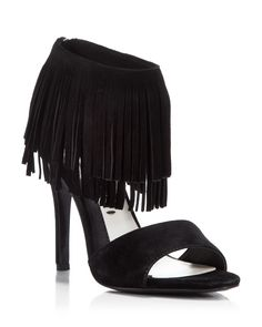 Alice + Olivia Ankle Strap Sandals - Gulia Fringe High Heel | Bloomingdale's