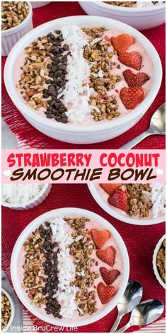 Healthy Smoothies Recipe Granola, chocolate, coconut, and nuts add a delicious crunch to this Strawberry Coconut Smoothie Bowl recipe. Perfect for breakfast or afternoon snack. Coconut Smoothie, Healthy Smoothies, Smoothie Recipes, Healthy Snacks, Healthy Recipes, Banana Recipes, Strawberry Smoothie Bowl Recipe, Vegetarian Smoothies, Breakfast
