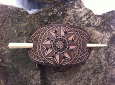 Geometric hand carved leather hair barrette  by DIONESAMBROZIUS