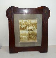 JUGENDSTIL  ART NOUVEAU großer Holz Bilderrahmen Frame um 1900 Glas Passepartout