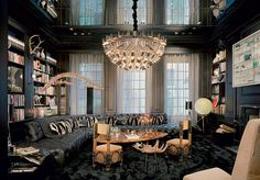 Upper East Side townhouse, interior designer William T. Georgis mixed a mirrored ceiling and ebonized millwork cap the room Architectural Digest, City Vs Country, Mirror Ceiling, Custom Sofa, Intelligent Design, Light Architecture, Reading Room, Reading Library, Contemporary Interior