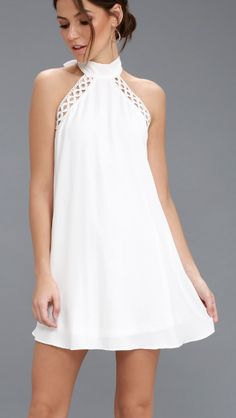Any Sway, Shape, or Form White Lace Halter Dress Skirt Outfits, Dress Skirt, Dress Up, Dress Form, White Lace, White Dress, Vestidos Halter, Resort Dresses, Casual Dresses