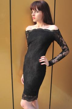 Mini Black Long Sleeve Lace Dress, Lace Women  Evening Dress, Off Shoulder Sexy Dress on Etsy, $127.50 AUD