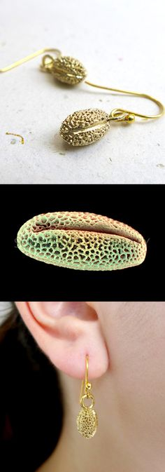 Willow Pollen earrings, botany, science jewelry