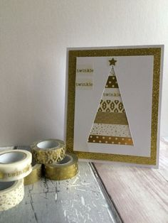 Dovecraft Gold Washi tape Christmas tree card by design team member Maxine