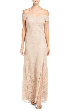 Sequin Hearts Off the Shoulder Lace Gown available at #Nordstrom