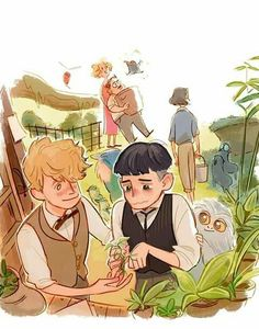 Find images and videos about harry potter, fanart and newt on We Heart It - the app to get lost in what you love. Mundo Harry Potter, Fanart Harry Potter, Harry Potter Fandom, Harry Potter Universal, Harry Potter World, Hogwarts, Scorpius And Rose, Desenhos Harry Potter, Fantastic Beasts And Where
