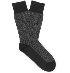 <a href='http://www.mrporter.com/mens/Designers/Hugo_Boss'>Hugo Boss</a>' socks are knitted from cotton with touches of cashmere and silk for an exceptionally soft feel. Featuring a graphic grey pattern, this Italian-made pair makes a refreshing change from plain styles. Let them peek out beneath cuffed jeans or cropped trousers.