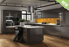 Wickes Masoni kitchen - looks good with wooden floors and white acrylic worktop