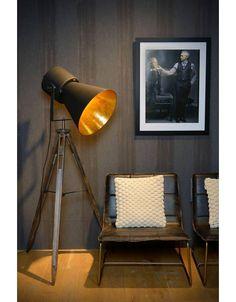 Vloerlamp zwart goud met driepoot E27