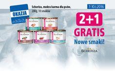 Od 07.01 do 10.01.2016 przy zakupie 2 puszek Scheriza, mokra karma dla psów, 200g – trzecia puszka GRATIS. NOWE SMAKI !!!