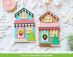 Lawn Fawn Intro: Build-A-House Christmas Add-On, Tiny Christmas and Snow Globe Gift Tag - Lawn Fawn Christmas Scenes, Christmas Tag, Winter Christmas, Christmas Lights, Christmas Ornaments, Fall Winter, Christmas Costumes, Christmas Ideas, Pumpkin House
