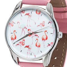 Women's Elegant Pretty Girl Pink Strap Watch Quartz Ladies Wrist Watch Flamingo