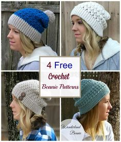 Crochet these 4 easy and gorgeous beanie hat patterns from Croyden Crochet. The Primrose Beanie, the Every Girl Slouch, the Alabaster Slouch and the Wonderland Beanie Easy Crochet, Free Crochet, Knit Crochet, Crochet Hats, Knitted Hats, Crochet Beanie Pattern, Crochet Patterns, Hat Patterns, Crochet Hoodie