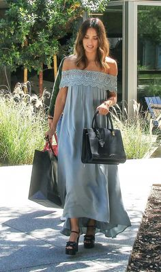 Jessica Alba keeps it LA cool in wedge sandals and a flowy off the shoulder dress