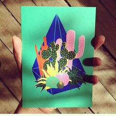 Good morning sunshines ✌️🌞 RG @oklahomamcr in Manchester who just received a fresh batch of HelloMarine's prints and cards including this colourful Terrarium! 🌵🌞 #hellomarine #illustration #printmaking #cactus #oklahomagiftshop #manchester