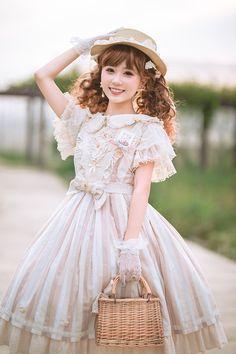 Fantastic Wind Ukulele Vintage Classic Lolita JSK is part of Fashion - Harajuku Fashion, Kawaii Fashion, Lolita Fashion, Cute Fashion, Old Fashion Dresses, Old Dresses, Vintage Dresses, Fashion Outfits, Pretty Outfits