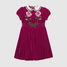 Velvet dress with sequin embroidery. Gucci for kids (Sponsored link) Girls Designer Dresses, Girls Dresses, Affordable Dresses, Elegant Dresses, Toddler Dress, Baby Dress, Designer Childrenswear, Best Online Clothing Stores, Zara