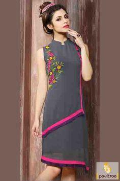 Get unleashed fashion grey georgette designer kurti online shopping at very…
