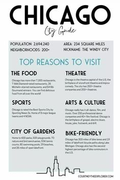 Chicago is an AMAZING travel destination. The crown jewel of the Midwest. The TOP Reasons to Visit include the food, theatre, sports, arts & culture, city of gardens & bike-friendly. If you have plans to travel to Chicago or if you are going to start making plans for Chicago travel, visit Courtney the Explorer for the ULTIMATE City Guide to Explore Chicago on a Budget. It features all the best things to do, places to stay. how to get around and where to eat. #Chicago #Illinois #CityGuide Blue Line Train, Travel Guides, Travel Tips, Chicago Travel, Chicago Illinois, Budget Travel, North America, Theatre, Jewel