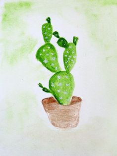 cactus. original painting by me. water colour painting on paper.