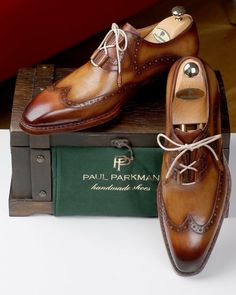 Paul Parkman Goodyear Welted Ghillie Lacing Wingtip Brogues (ID Mens Fashion Shoes, Men S Shoes, Dress Fashion, Mens Dress Outfits, Men Dress, Comfortable Mens Dress Shoes, Herren Style, Brown Dress Shoes, Simple Shoes