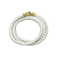 Jacqueline Pinto White Braided Leather Wrap Bracelet with JP Dog tag (€100) ❤ liked on Polyvore featuring jewelry, bracelets, petite jewelry, dog tag jewelry, white jewelry, leather wrap bracelet and white wrap bracelet